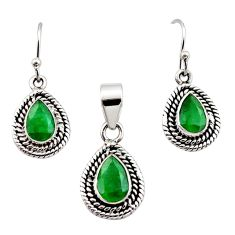 6.32cts natural green emerald 925 sterling silver pendant earrings set r12523