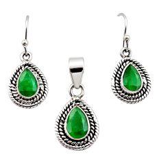 925 silver 5.42cts natural green emerald pear shape pendant earrings set r12524