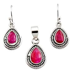 5.42cts natural red ruby 925 sterling silver pendant earrings set jewelry r12525