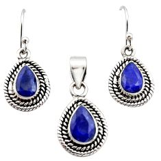 5.42cts natural blue sapphire 925 sterling silver pendant earrings set r12526