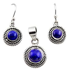 925 silver 5.30cts natural blue lapis lazuli round pendant earrings set r12527