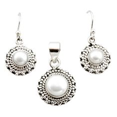 5.35cts natural white pearl 925 sterling silver pendant earrings set r12528