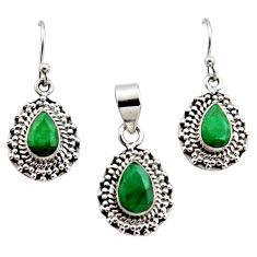 925 silver 6.02cts natural green emerald pear pendant earrings set r12530