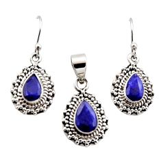 6.02cts natural blue sapphire 925 sterling silver pendant earrings set r12532