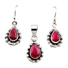 925 sterling silver 4.93cts natural red ruby pendant earrings set jewelry r12533