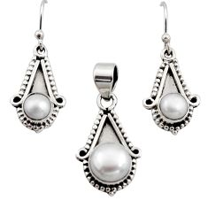 5.30cts natural white pearl 925 sterling silver pendant earrings set r12534