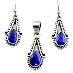 925 sterling silver 5.73cts natural blue sapphire pendant earrings set r12539