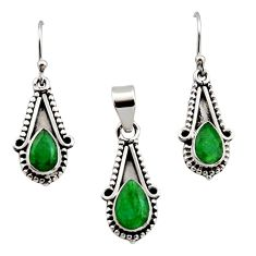 5.30cts natural green emerald 925 sterling silver pendant earrings set r12540