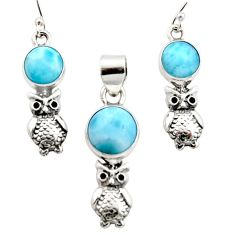 10.44cts natural blue larimar 925 silver owl pendant earrings set r12541