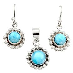 7.04cts natural blue larimar 925 sterling silver pendant earrings set r12542