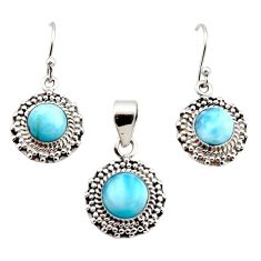 8.42cts natural blue larimar 925 sterling silver pendant earrings set r12543