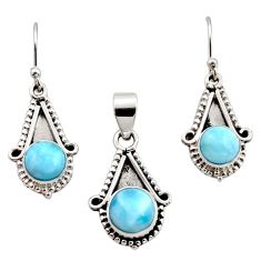 925 silver 6.32cts natural blue larimar round shape pendant earrings set r12544