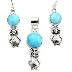 10.74cts natural blue larimar 925 silver owl pendant earrings set r12545