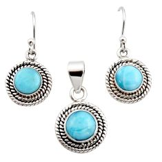 6.33cts natural blue larimar 925 sterling silver pendant earrings set r12546