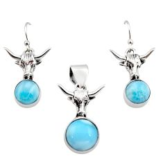 12.56cts natural blue larimar 925 sterling silver pendant earrings set r12547