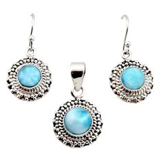 7.10cts natural blue larimar 925 sterling silver pendant earrings set r12549