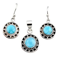 6.96cts natural blue larimar 925 sterling silver pendant earrings set r12550
