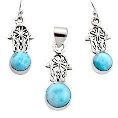 Natural blue larimar 925 silver hand of god hamsa pendant earrings set r12551