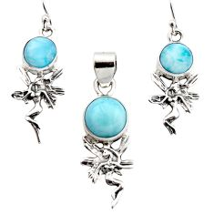 10.89cts natural blue larimar 925 silver angel pendant earrings set r12552