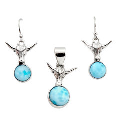 12.04cts natural blue larimar 925 sterling silver pendant earrings set r12553