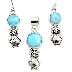 9.91cts natural blue larimar 925 silver owl charm pendant earrings set r12554