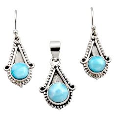 6.62cts natural blue larimar 925 sterling silver pendant earrings set r12555