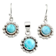 7.07cts natural blue larimar 925 sterling silver pendant earrings set r12556