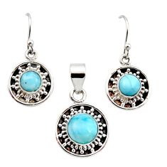 925 silver 6.80cts natural blue larimar round pendant earrings set r12557