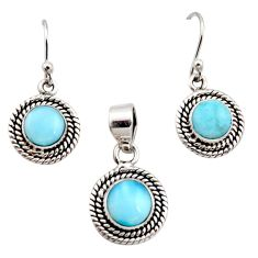 6.63cts natural blue larimar 925 sterling silver pendant earrings set r12558