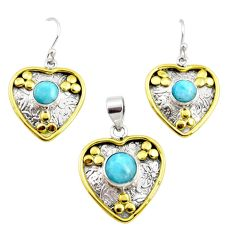 7.62cts victorian natural larimar silver two tone pendant earrings set r12559