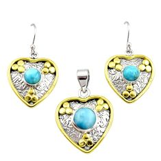 925 silver victorian natural blue larimar two tone pendant earrings set r12560