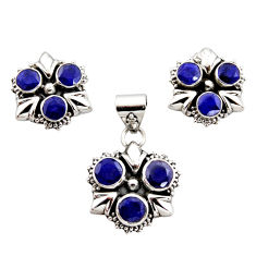 11.01cts natural blue sapphire 925 sterling silver pendant earrings set r12561