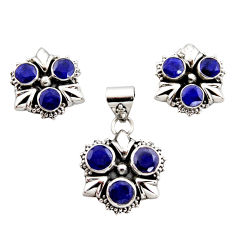 10.18cts natural blue sapphire 925 sterling silver pendant earrings set r12562