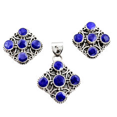 17.42cts natural blue sapphire 925 sterling silver pendant earrings set r12563