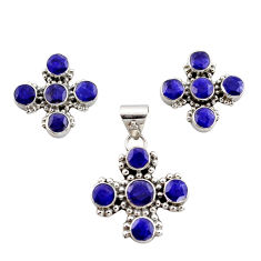 925 sterling silver 13.22cts natural blue sapphire pendant earrings set r12564
