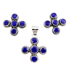 12.04cts natural blue sapphire 925 sterling silver pendant earrings set r12566