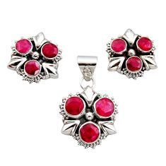 925 sterling silver 9.56cts natural red ruby round pendant earrings set r12567