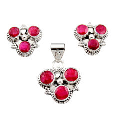 9.47cts natural red ruby 925 sterling silver pendant earrings set jewelry r12569