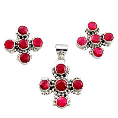 14.16cts natural red ruby 925 sterling silver pendant earrings set r12570