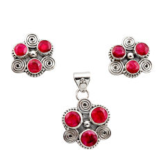 925 sterling silver 9.32cts natural red ruby pendant earrings set jewelry r12571