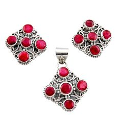 14.64cts natural red ruby 925 sterling silver pendant earrings set r12572
