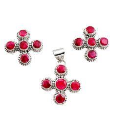 12.86cts natural red ruby 925 sterling silver pendant earrings set r12573