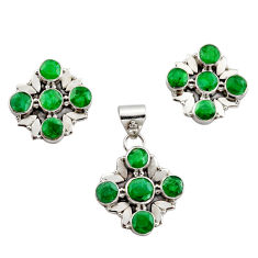 12.86cts natural green emerald 925 sterling silver pendant earrings set r12575