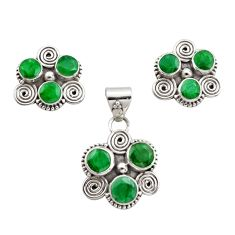 9.32cts natural green emerald 925 sterling silver pendant earrings set r12576