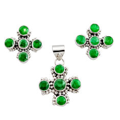 925 sterling silver 14.13cts natural green emerald pendant earrings set r12577