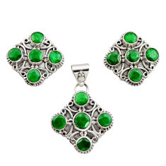14.34cts natural green emerald 925 sterling silver pendant earrings set r12578