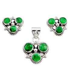 9.23cts natural green emerald 925 sterling silver pendant earrings set r12579