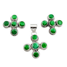 925 sterling silver 13.34cts natural green emerald pendant earrings set r12580