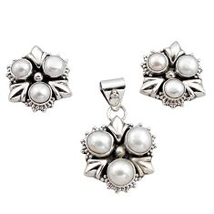 10.82cts natural white pearl 925 sterling silver pendant earrings set r12581