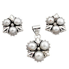 10.67cts natural white pearl 925 sterling silver pendant earrings set r12582